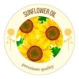 Sunflowers round label vector. Autumn print. flowers and leaves, For textile, decoration, packing, wrapping,. Banner for oil product, cooking, advertising tags Royalty Free Stock Photography