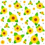 Sunflowers. Seamless background with bright yellow sunflowers Royalty Free Stock Photo
