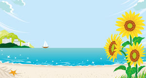 Sunflowers in Summer Beach Royalty Free Stock Images
