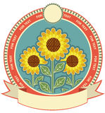 Sunflowers symbol background Royalty Free Stock Images