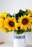 Sunflowers in vase. Beautiful fresh sunflowers in white vase stock image
