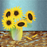 Sunflowers and Vase Royalty Free Stock Images