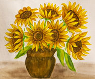 Sunflowers, watercolours. Hand painted picture, watercolours, bouquet of sunflowers Stock Photography