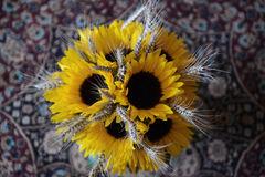 Sunflowers wedding bouquet stock photo