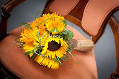 Sunflowers wedding bouquet Royalty Free Stock Images