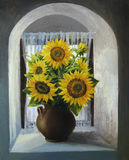 Sunflowers on The Window Royalty Free Stock Images