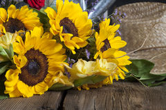 Sunflowers on Wood table Royalty Free Stock Photos