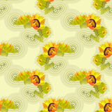 Sunflowers yellow seamless background with green leafs. Vector illustration vector illustration