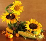 Sunflowers and yellow vegetables Stock Photography
