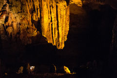 Sung Sot means Surprise Grotto is the biggest cave in Halong Stock Photo
