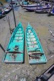Sungai Dorani, Selangor 02 Mac 2016 : Concrete jetty and fishing boats royalty free stock photography