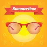 Sunglass предохранения от солнца лета реалистические с красной лентой Стоковое фото RF
