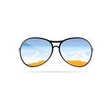Sunglass with beach art vector on a color Stock Photography