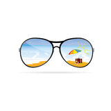 Sunglass with beach art vector Stock Images