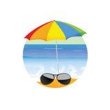 Sunglass on the beach cartoon art vector Royalty Free Stock Image