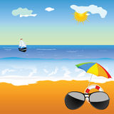 Sunglass on the beach vector illustration Royalty Free Stock Photography