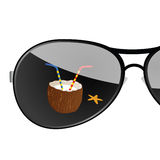 Sunglass with coconut art vector illustration Royalty Free Stock Photo