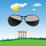 Sunglass in the nature cartoon art vector Royalty Free Stock Photo