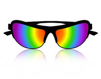 Sunglass rainbow color. Stylish rainbow color sunglass clipart / illustration isolated on white background Stock Photo
