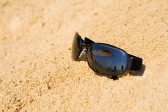 Sunglass reflecting beach view Stock Image
