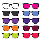 Sunglass set illustration in colorful Royalty Free Stock Photo