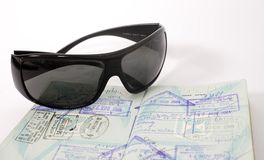Sunglass with stamp impressions Royalty Free Stock Photography