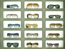 Sunglasses 02. Sunglases displayed in three columns and lit from the background Royalty Free Stock Photography