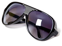 Sunglasses. Black plastic sunglasses closeup isolated Royalty Free Stock Image
