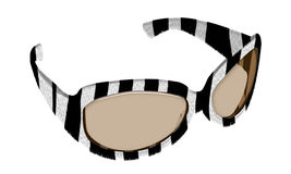 Sunglasses. The sunglasses made of material resembling imitated fur zebra Stock Image