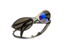 Sunglasses. Sport sunglasses on mirror with  white background Stock Photo