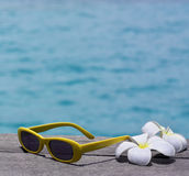 Sunglasses. On the beach with flowers Stock Photos