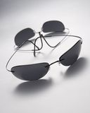 Sunglasses. Studio shot of titanium sunglasses on white background Royalty Free Stock Images
