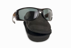 Sunglasses. Black sunglasses with black box Royalty Free Stock Photos