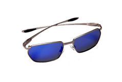 Sunglasses. Aluminium blue sunglasses isolated on white Royalty Free Stock Images