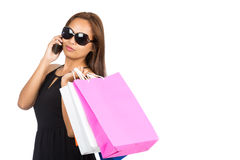 Sunglasses Asian Woman Shopping Bags Phone Half H Royalty Free Stock Photos