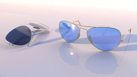 Sunglasses - Aviator two pairs, with blue and black glass. Sunglasses - Aviator,  two pairs, with blue and black glass.3D rendering - Illustration stock illustration