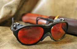 Sunglasses - aviators. On a leather background Royalty Free Stock Image