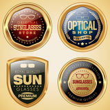 Sunglasses badge set. Set of sunglasses and optical glasses badges Stock Photos