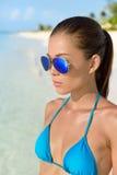 Sunglasses beach Asian woman with sexy blue bikini Stock Images