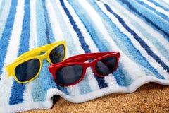 Sunglasses beach copy space Stock Photo