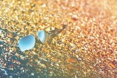 Sunglasses, beach, reflection, summer, exposure, sand, pebbles, Stock Photos