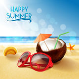 Sunglasses on the beach summer Royalty Free Stock Image