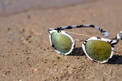 Sunglasses on the beach royalty free stock photos