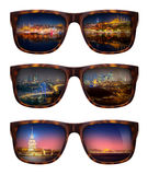 Sunglasses with beautiful panorama of Istanbul royalty free stock image
