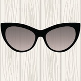 Sunglasses in a black frame on a white wooden background. Vector illustration Royalty Free Stock Photos