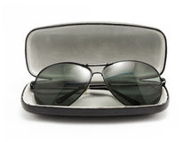 Sunglasses in black opened case Royalty Free Stock Photos