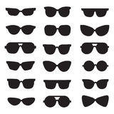 Sunglasses black silhouettes vector icons set. Modern minimalistic design. Royalty Free Stock Photos