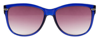 Sunglasses blue frame and red color lens isolated against a clean white background nobody Stock Photography