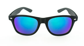 Sunglasses with blue lenses on white background. Black sunglasses with blue lenses on a white background stock photos