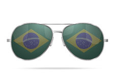 Sunglasses with Brazil flag inside Stock Photo